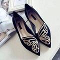 Mariposa Zapatos Planos de la Mujer Zapatos Oxford Para Las Mujeres Resbalón En Holgazanes Diseñador de Zapatos de Las Señoras Zapatos de Los Planos Más El Tamaño 35-40