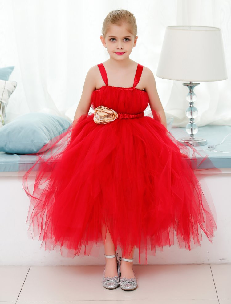 ФОТО the girl handmade red gauze dress flower girl dress bra tutu  dress baby girls 6-8 years old wedding dress