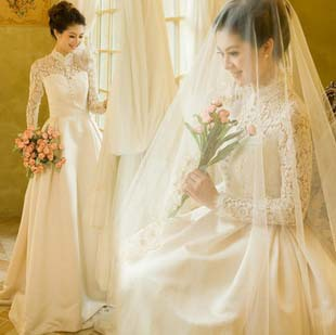 Cheap US And European Royal Lace Long Sleeved Wedding Dress 2014 Spring New Retro