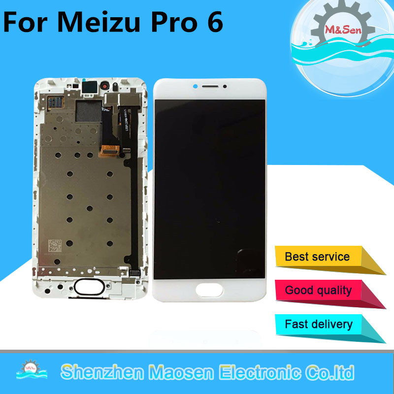 M&Sen LCD display screen+ Touch panel Digitizer with frame For 5.2'' Meizu pro 6 white/black color Free shipping 1 pcs for iphone 4s lcd display touch screen digitizer glass frame white black color free shipping free tools
