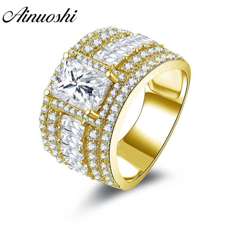 AINUOSHI luxe large bande anneau 14K solide blanc/jaune or Multi pavé réglage Rectangle coupe SONA diamant bague de fiançailles de mariage