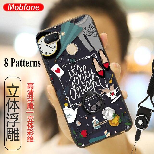 45a50851e75 Redmi 6 3D Relief Funny Cartoon Case Back Cover Xiaomi Mi A2 Lite Redmi 6  Pro Ultra thin Phone Fundas +Ring Holder Stand+Straps