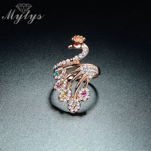 Mytys Brand New Arrival High Quality Invisible Crystal Rose Gold Peacock Ring Fo