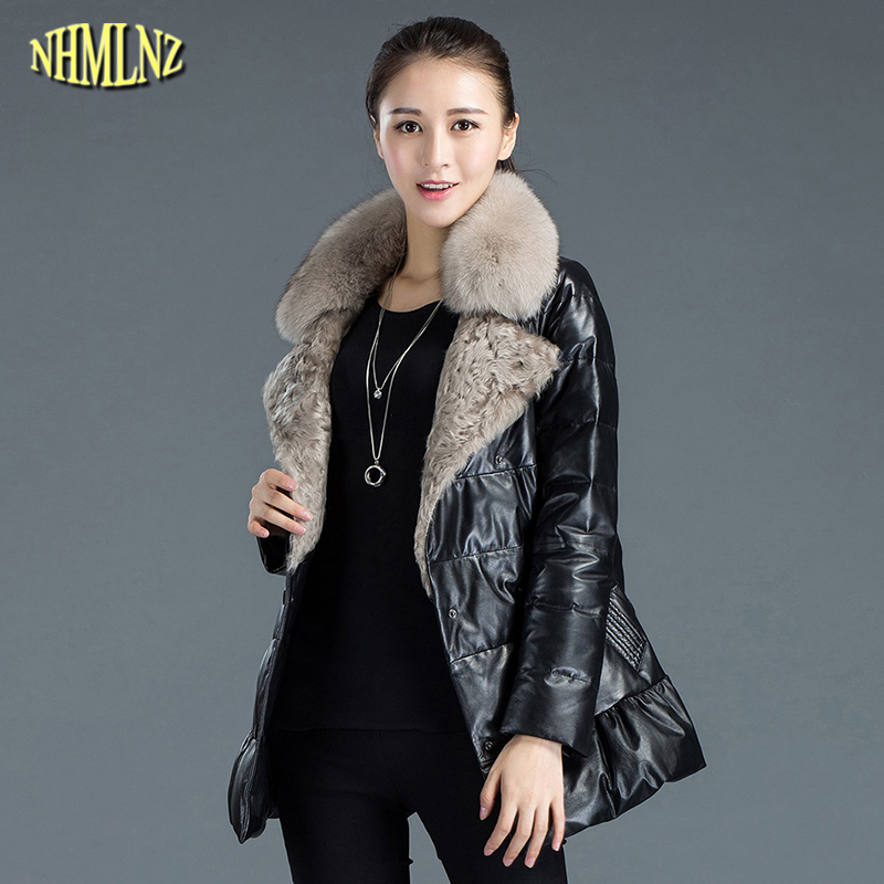 Winter Women High quality Women Genuine Leather Coat Female Medium long Fashion Warm Fox fur collar Genuine Leather Jacket WK262