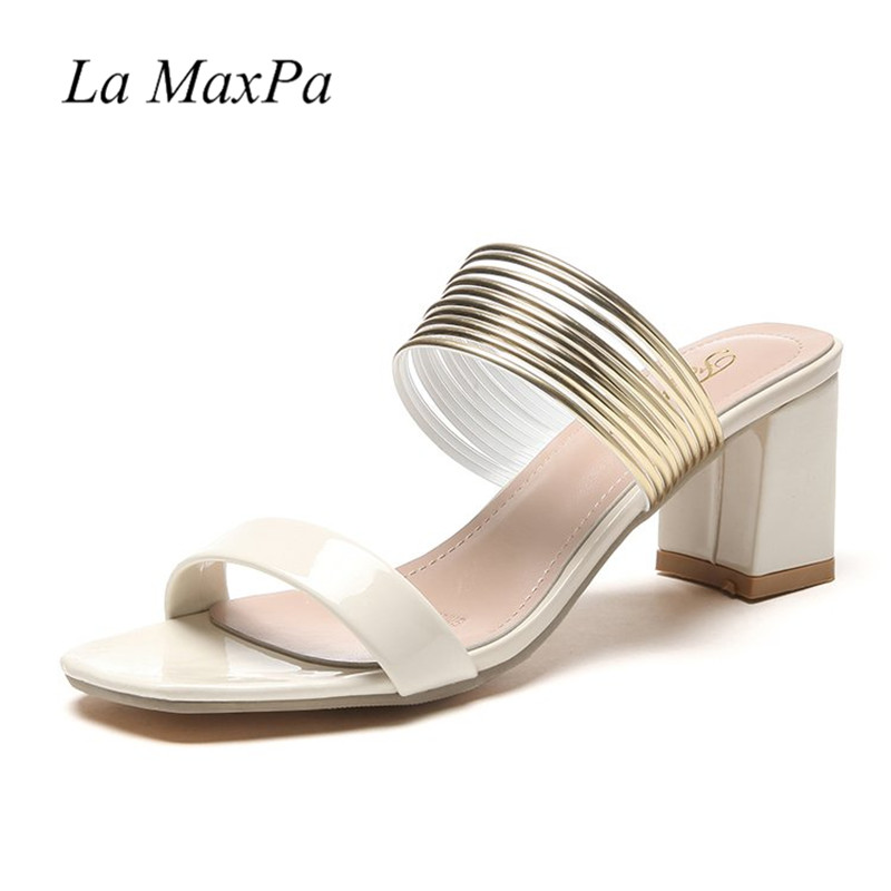 2018 Open Toe Shoes Women Metal Ring Decoration Summer Slides Comfortable 6CM Thick Heels Gladiator Square Heel Leather Sandals