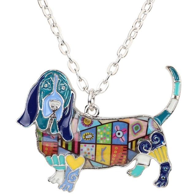 Bonsny Statement Enamel Alloy Basset Hound Dog Necklace Pendants Choker Chain Collar Fashion Jewelry Animal Souvenir For Women