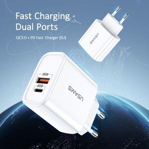 Image 5 - Cargador USB USAMS de carga rápida QC3.0 PD3.0 para iPhone X EU US enchufe cargador rápido para teléfono móvil para Samsung carga de pared USB única
