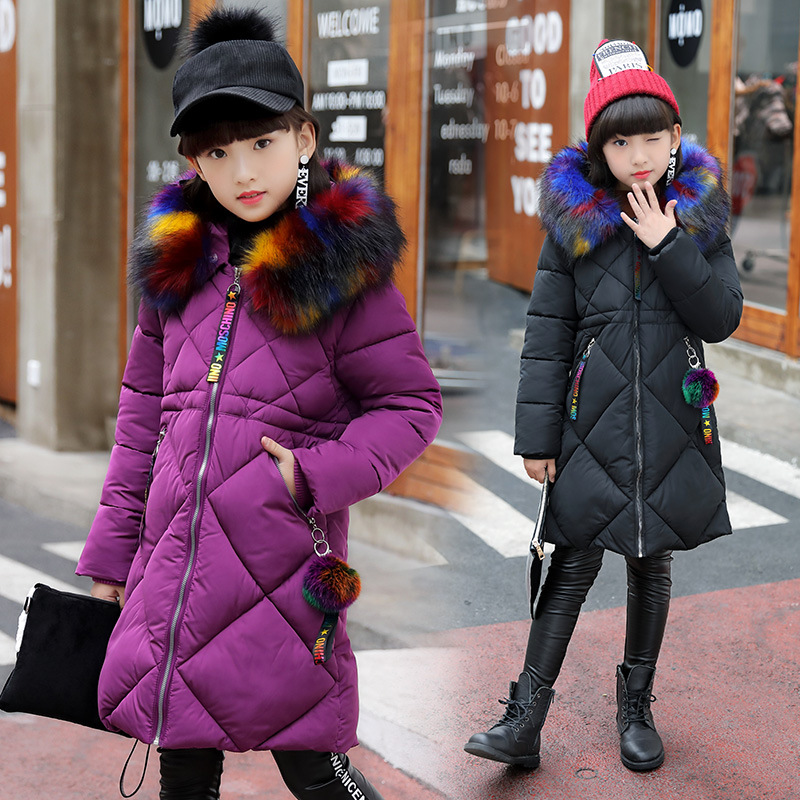 4-13 Years Children Girl Winter Parka Coat Jacket Fashion High Multicolor Fur Collar Hooded Solid Thick Cotton Wadded Outerwear long section men s wadded jacket fashion solid cotton padded clothes trench coat hooded jacket casual outerwear slim parka m 3xl