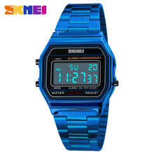 SKMEI Brand Men Luxury Sport Watch Stainless Steel Retro Square LED 12/24 Hour C