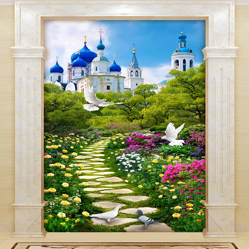 Custom 3D Wall Mural Corridor Background Wallpaper European Style Castle Building Wall Space Expansion 3D Non-woven Wall Papers free shipping european corridor wall painting background wallpaper hawaii non woven wallpaper mural