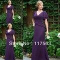Elegante cor púrpura V Neck Chiffon longo mãe da noiva noivo vestido com manga curta frete grátis MQ051