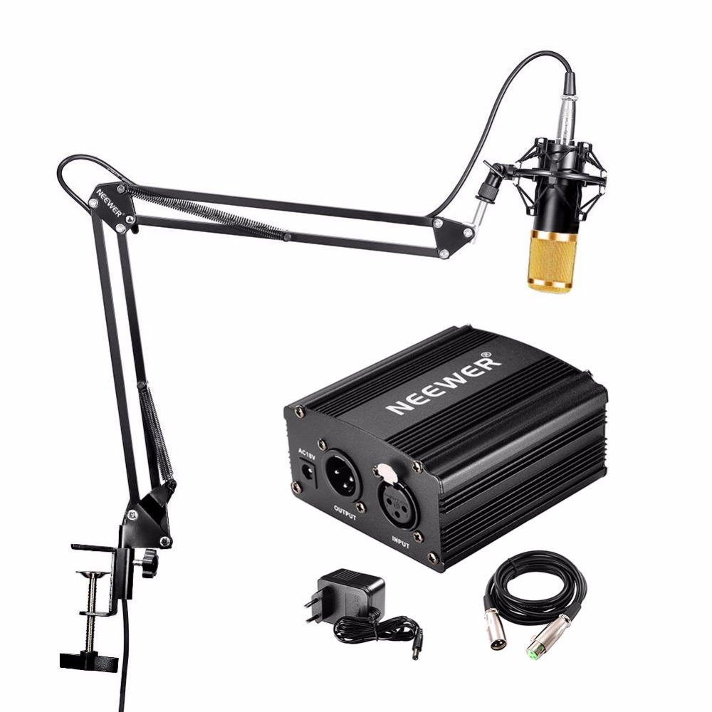 Neewer NW-800 Condenser Microphone & NW-35 Scissor Arm Stand XLR Cable and Mount Clamp & NW-3 Pop Filter Phantom Adapter Kit