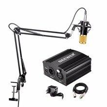 Neewer NW 800 micrófono de condensador y soporte de brazo de tijera de NW 35 Cable XLR y abrazadera de montaje y NW 3 Kit de adaptador Phantom de filtro Pop