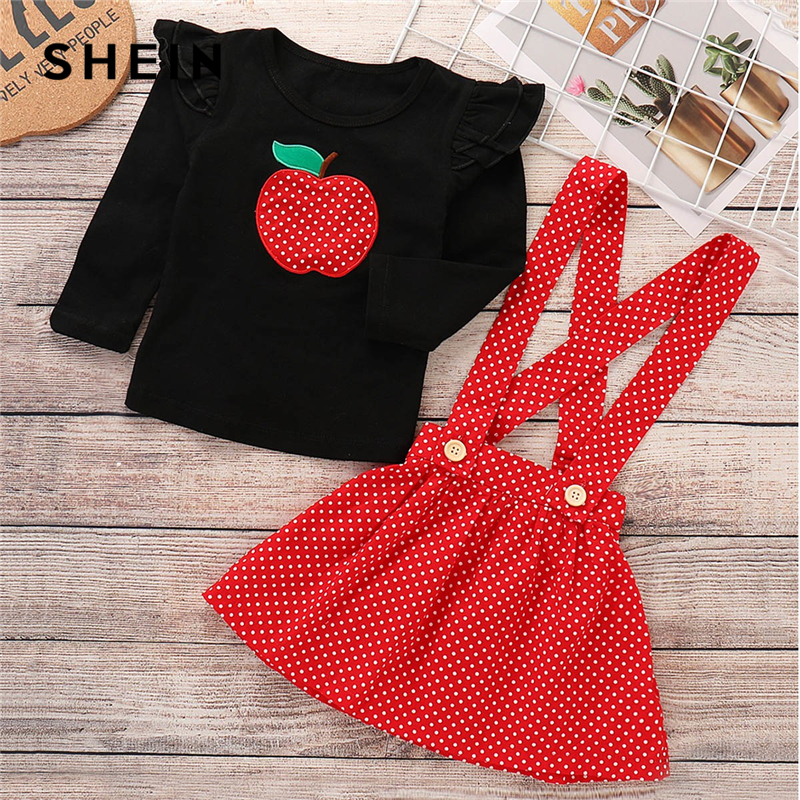 SHEIN Kiddie Embroidered Casual T-Shirt With Pinafore Dress Suit For Toddler Girls 2019 Spring Ruffle Dot Cute Kids Clothes Sets 2015 summer hello kitty baby girls mini dress toddler kids cartoon cotton t shirt sleeveless children 1 6y
