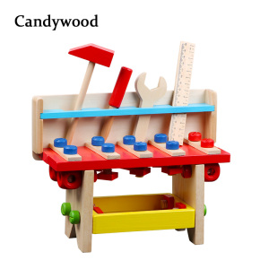 Boys Toys Wooden Intellectual Tool Set Maintenance Box Building Tools for Carpentry Wooden Toy Kids Educational Toy for Children(China)