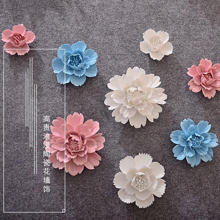 Ceramic Wall Flower Decor: Wall Ceramic Flowers Wall Decoration Crafts 3D Three