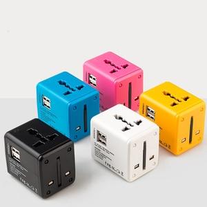 Image 5 - Weltweit Universal Travel Adapter Unterstützung schnelle ladung, kompakte und stilvolle Multi Stecker Ladegerät Mit Dual USB Ports US/EU/UK/AU