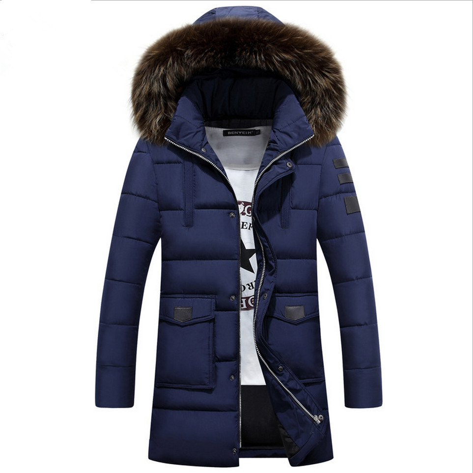 M-3XL Winter Men's Down Cotton Jacket Winter Coat Fashion Raccoon Fur Collar Solid Long Parka Male Plus Size Outwear 2017 New yi la 2017 new winter fur collar hooded down cotton coat fashion women s long coat cotton warm jacket parka plus size 3xl s869
