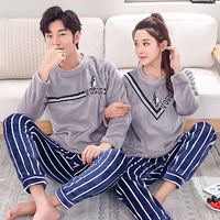 BZEL Couple Pajama Sets Flannel Long Sleeve Sleepwear Round Neck Women Pijamas Casual Indoor Clothing Pyjamas Men Nightwear 3XL