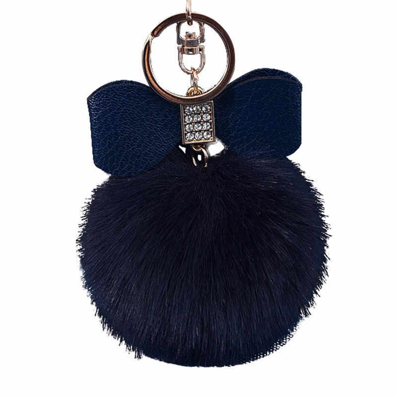 LLavero de piel de conejo encantador Bola de diamantes de imitación zorro Bowknot para bolsa de felpa coche llavero colgante llaveros joyería 2019 nueva moda