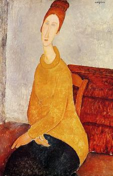 Yellow Sweater (aka Portrait of Jeanne Hebuterne) Amedeo Modigliani oil painting for sale High quality woman painting Handmade image