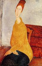 Yellow Sweater (aka Portrait of Jeanne Hebuterne) Amedeo Modigliani oil painting for sale High quality woman painting Handmade