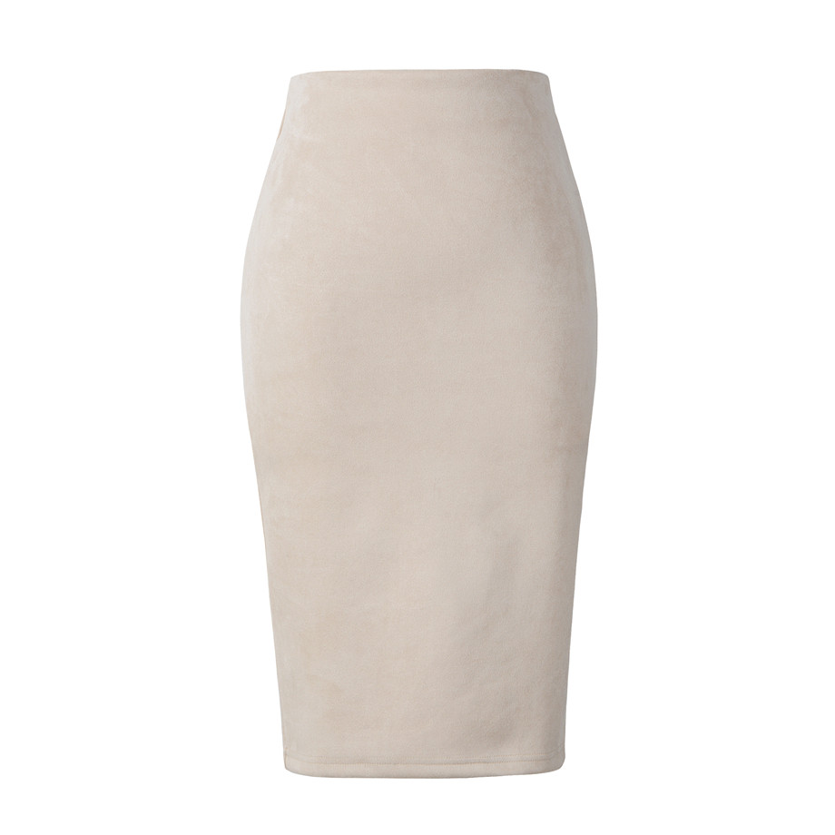 Neophil 19 Winter Women Suede Midi Pencil Skirt High Waist Gray Pink XXL Sexy Style Stretch Wrap Ladies Office Work Saia S1009 24