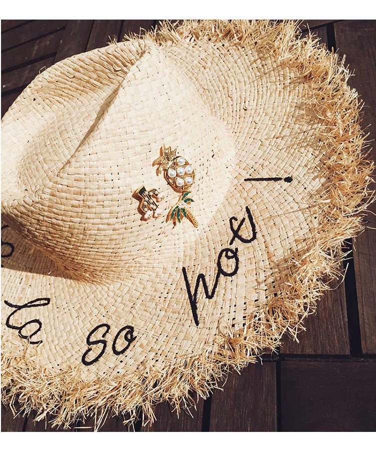 Aomu Kepribadian Musim Panas Kartun Tanaman Kelapa Pohon Kaktus Nanas Bros untuk Wanita Denim Jaket Pin Fashion Perhiasan