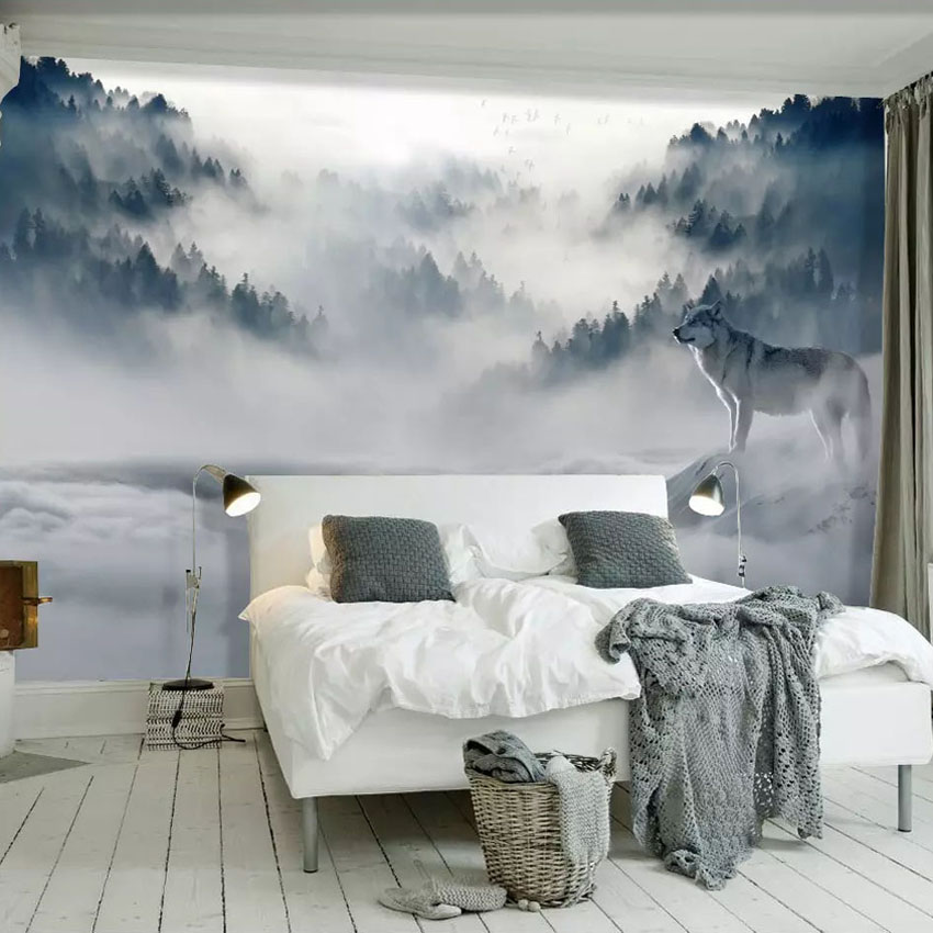 Custom Mural Wallpaper 3D Mountain Fog Forest Wolf Animal Wall Painting Photo Wallpaper For Living Room Bedroom Decor Sticker