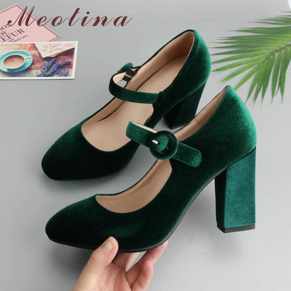 Meotina Velvet Shoes Women Pumps High Heels Ladies Mary Jane Shoes Buckle Black Thick Heels 2019 Fashion Footwear Big Size 34-43