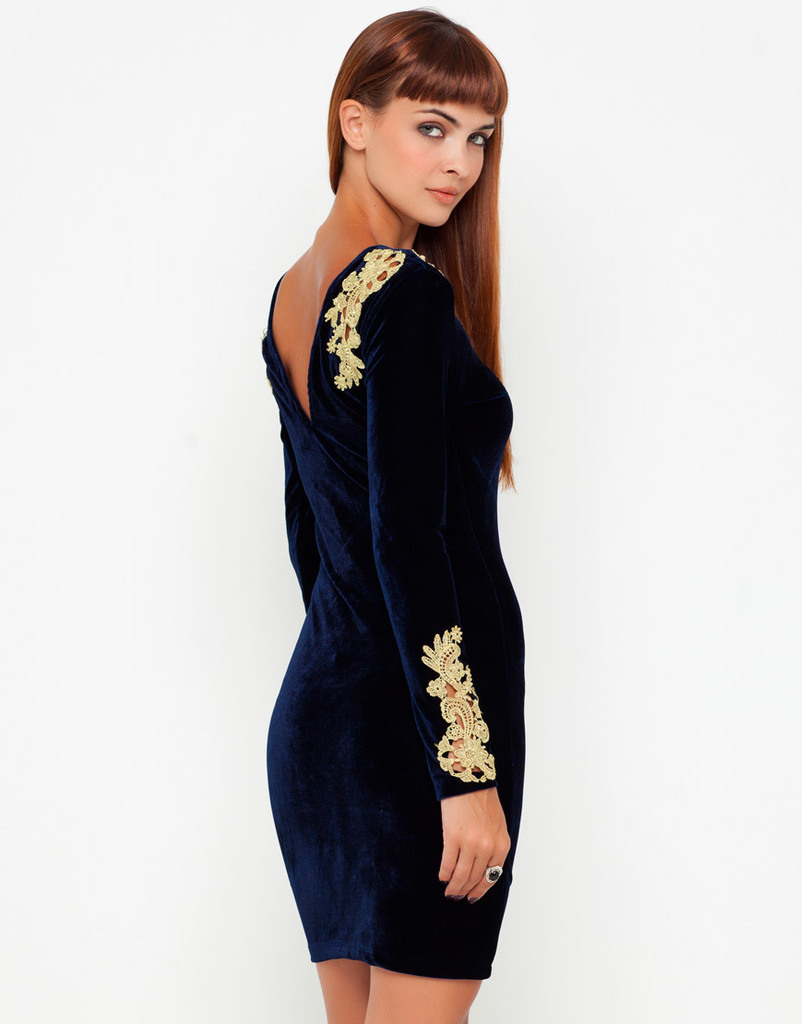 18e12084723eb US $46.99  DL08 HOT SELLING Women Fashion Autumn Midnight Blue Velvet Long  Sleeve Bodycon Sexy Dress With Cutout Embroidered Gold Lace-in Dresses from  ...