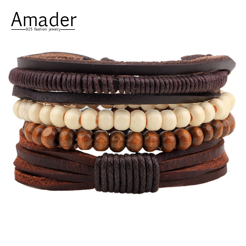 1Set 4pcs Multilayer Leather Bracelet Men Jewelry Boho Rock Wood Bead Bracelets For Women Love Vintage