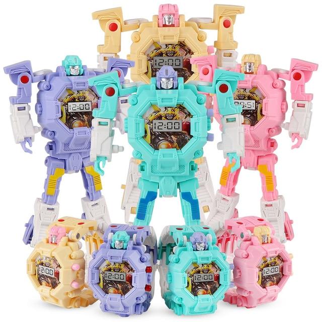 1e4c858b Креативные детские наручные часы трансформация часы игрушка электронный  робот часы для детский подарок робот-трансформер