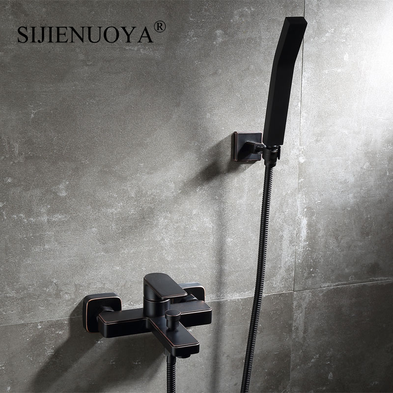 SIJIENUOYA Wall Mounted black bathroom faucet bathroom hand held shower faucet Sets for the bathtub bathroom tap