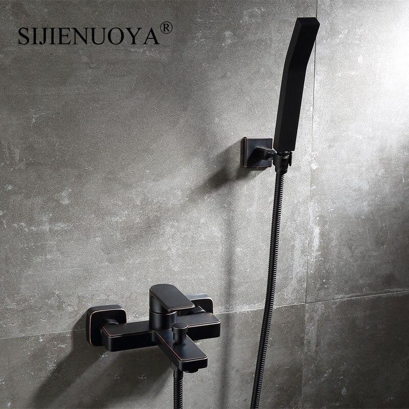 SIJIENUOYA negro montado en la pared baño grifo ducha establece grifo de la bañera baño grifo