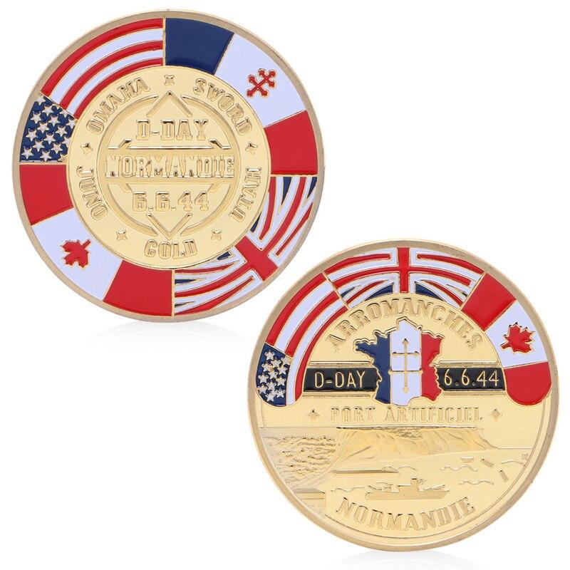Golden Normandie Arromanches Commemorative Challenge Coin Collection Souvenir