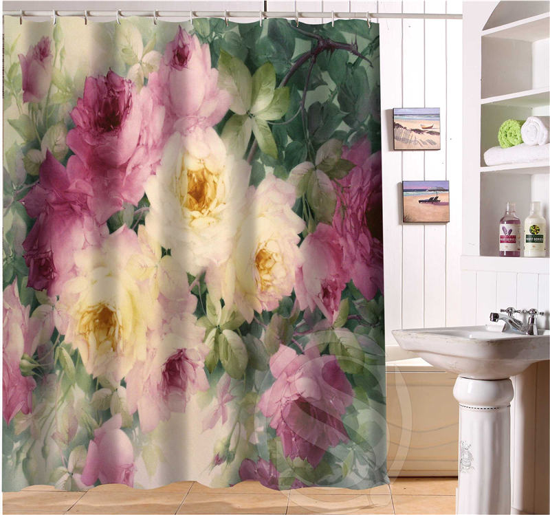 shunqian romantic beautiful roses pattern custom shower curtain bath curtain waterproof ecofriendly curtain shower