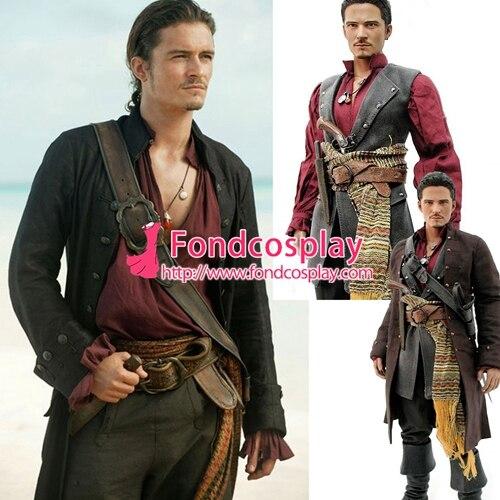 Пираты Карибского моря Джек костюм Джека Воробья Johnny Depp Moive косплей на заказ [G1431]