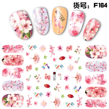 FWC 1pcs Pink Flower Series 3D Embossed Nail Sticker Flower Adhesive DIY Manicure Slider Nail Art Tips Decorations Decals 1pcs 3d nail sticker colorful glitter flower geometry new slider for manicure decoration tips nail art adhesive decals