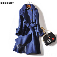 Autumn Fashion Wool Coat Women Loose Thick Double Breasted Coats Outerwear Windbreaker Woolen Long Coats
