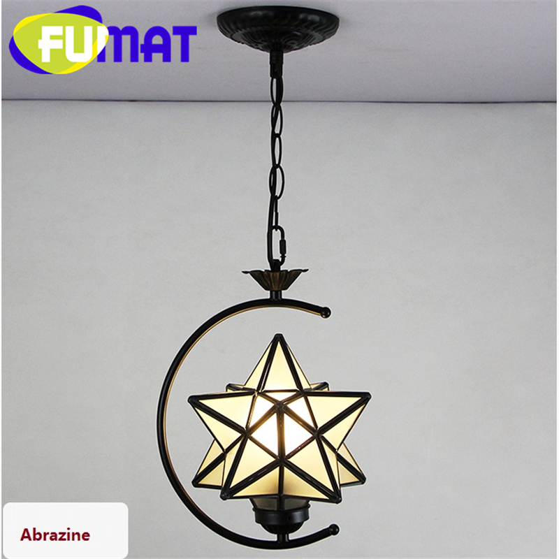 FUMAT Stained Glass Art Decor Pendant Lamp Loft Light Moon Star Diamond Light Corridor Kitchen Dinning Room Glass Pendant Lamps