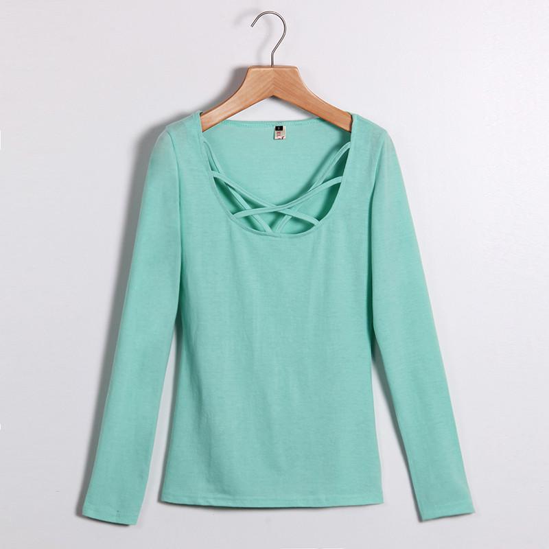 Kobiety Koszulki Z Długim Rękawem Topy Hollow Out Bandaż Swetry Slim Sexy Topy Tees Blusas plus size LJ4515M Femme 7