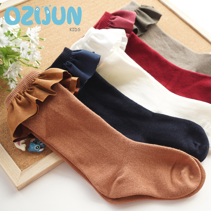 One Pairs Fashion Suede Ruffle Lace Knee Socks Baby Girls Cotton Socks Faux Fur Lace Kids Girls Socks 2-4/4-6/6-8Y High Quality