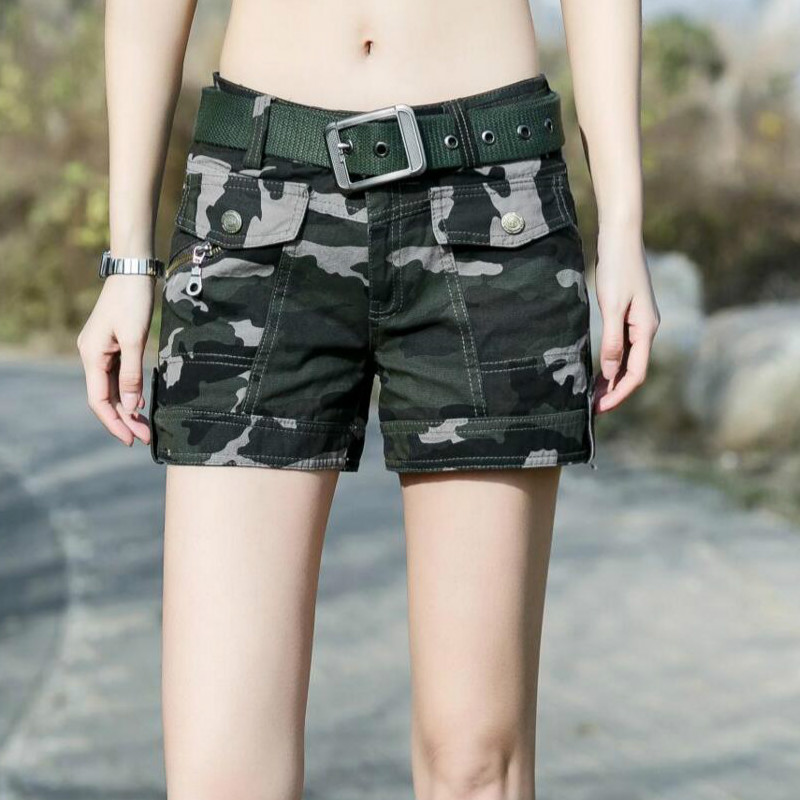 2018 new summer Fashion casual plus size cotton military straight Camouflage army green female women girls shorts clothes