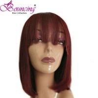 Подпрыгивающие волосы Боб человеческие волосы кружева передние парики, бразильские волосы индивидуальные парики с челкой 99j цвет 100% Remy для