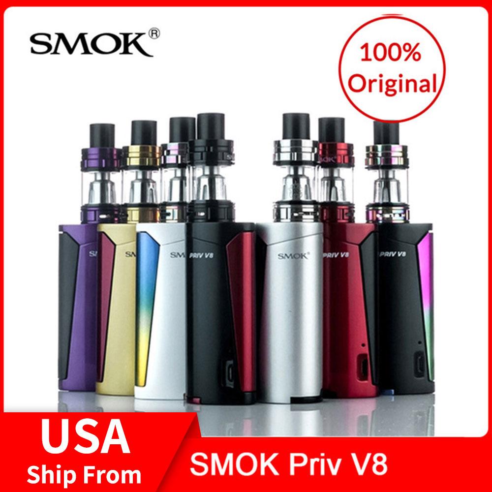 Original SMOK Priv V8 Vape Kit 60W com TFV8 3ml + V8 M2 Bobinas Bebê Tanque Do Bebê + tubo de vidro Para vape cigarro Eletrônico Kit