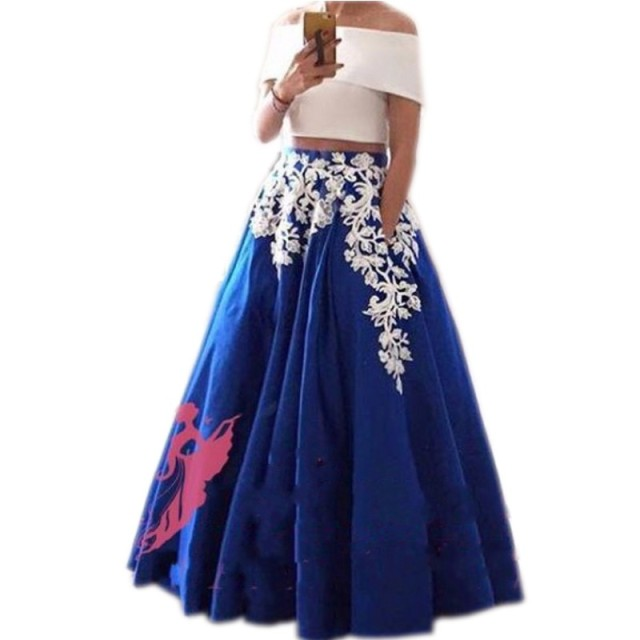 New Arrival Applique Skirts Women A Line Floor Length Long Maxi Skirt Custom  Made Thick Royal Blue Skirts Women Formal Style 84a65faf20e0