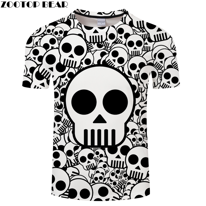 Skull 3D t shirt Men Women tshirt Funny T-shirt Summer Tees Short Sleeve Tops Black Camiseta Streetwear Drop Ship ZOOTOP BEAR