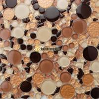 Mixed brown farbe große und kleine runde kristallglas mosaik fliesen küche backsplash badezimmer dusche fliesen kamin wand HMB1218