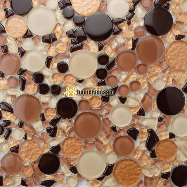 Mixed Brown Farbe Große Und Kleine Runde Kristallglas Mosaik Fliesen - Mosaik fliesen größe